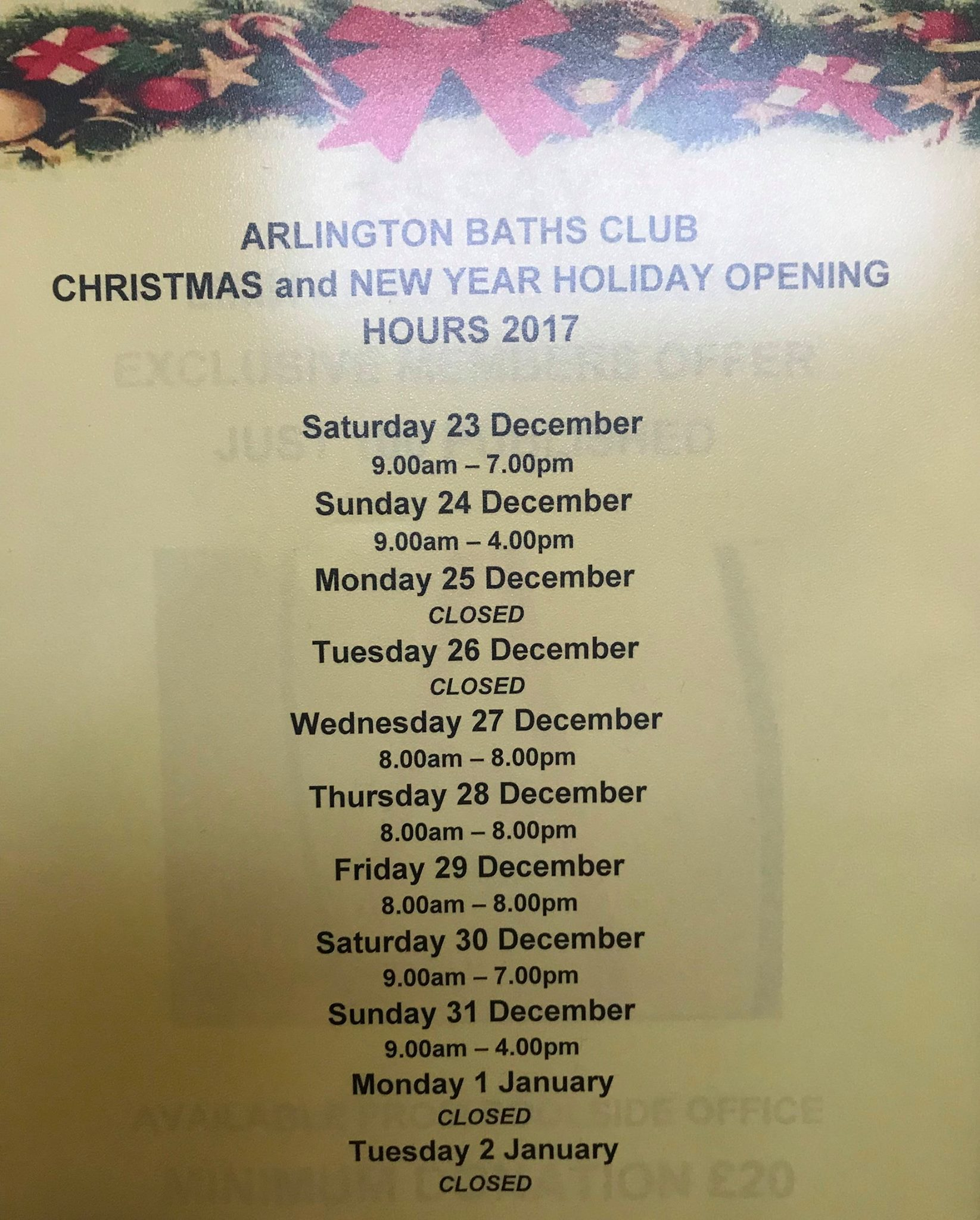 Opening hours from 23 December 2017 to 2 January 2018